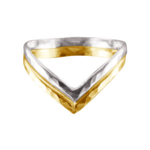 Double V – Thumb Ring – Mixed Metal