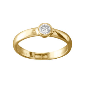 CZ Solitaire – Toe Ring – Gold Vermeil