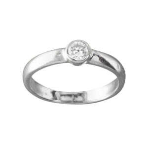 CZ Solitaire – Thumb Ring – Sterling Silver