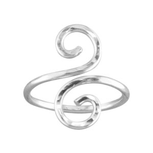 Hammered Swirl – Toe Ring – Sterling Silver